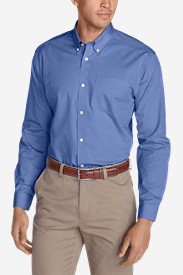 Blue Shirts for Men: Men's Wrinkle-Free Slim-Fit Pinpoint Oxford Shirt - Solid