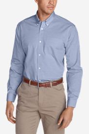 Long Sleeve Shirts for Men: Men's Wrinkle-Free Slim-Fit Pinpoint Oxford Shirt - Solid