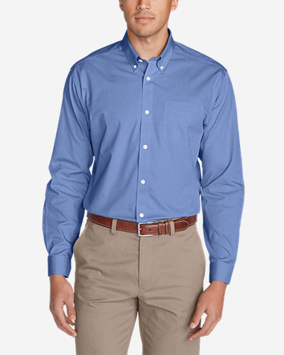 Men's Wrinkle Free Classic F It Pinpoint Oxford Shirt   Solid by Eddie Bauer