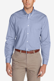 Blue Shirts for Men: Men's Wrinkle-Free Classic FIt Pinpoint Oxford Shirt - Solid