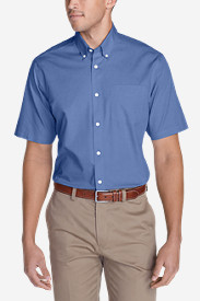 Blue Shirts for Men: Men's Wrinkle-Free Relaxed Fit Short-Sleeve Pinpoint Oxford Shirt - Solid