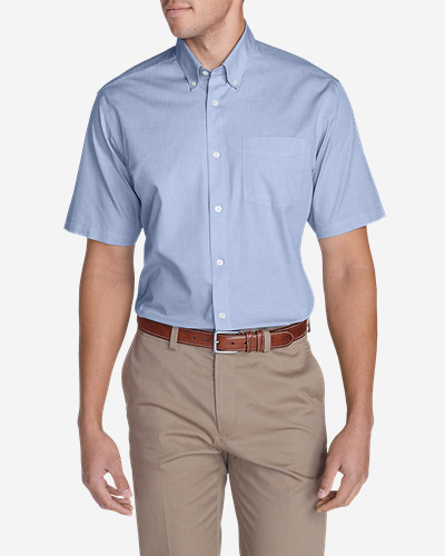 Big & Tall Shirts for Men: Men's Wrinkle-Free Relaxed Fit Short-Sleeve Pinpoint Oxford Shirt - Solid