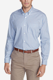 Blue Shirts for Men: Men's Wrinkle-Free Classic Fit Pinpoint Oxford Shirt - Blues