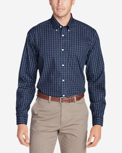 Big & Tall Shirts for Men: Men's Wrinkle-Free Classic Fit Pinpoint Oxford Shirt - Blues