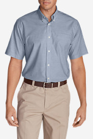 Blue Shirts for Men: Men's Wrinkle-Free Relaxed Fit Short-Sleeve Oxford Cloth Shirt - Solid
