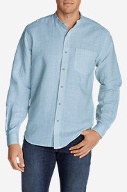Men's Linen/Cotton Banded Collar Shirt