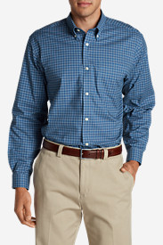 Blue Shirts for Men: Men's Wrinkle-Free Relaxed Fit Oxford Cloth Shirt - Pattern