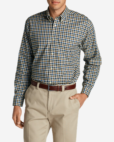 Green Shirts for Men: Men's Wrinkle-Free Relaxed Fit Oxford Cloth Shirt - Pattern