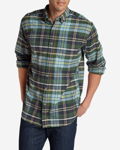 Green Shirts for Men: Men's Eddie's Favorite Flannel Relaxed Fit Shirt - Plaid