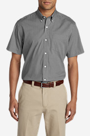 Gray Shirts for Men: Men's Wrinkle-Free Relaxed Fit Pinpoint Oxford Shirt - Short-Sleeve Pattern