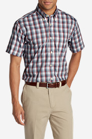 Blue Shirts for Men: Men's Wrinkle-Free Relaxed Fit Pinpoint Oxford Shirt - Short-Sleeve Pattern