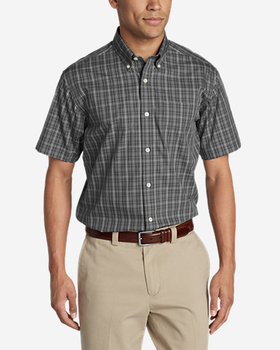 Big & Tall Shirts for Men: Men's Wrinkle-Free Relaxed Fit Pinpoint Oxford Shirt - Short-Sleeve Pattern