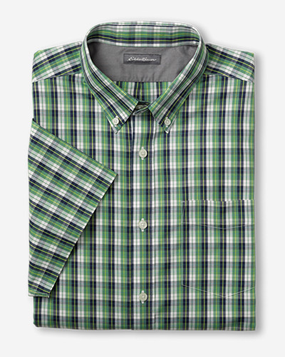 Green Shirts for Men: Men's Wrinkle-Free Relaxed Fit Pinpoint Oxford Shirt - Short-Sleeve Pattern