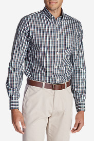 Blue Shirts for Men: Men's Wrinkle-Free Pinpoint Oxford Relaxed Fit Long-Sleeve Shirt - Seasonal Pattern