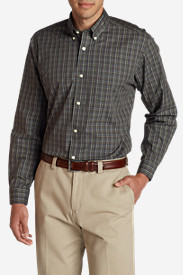 Brown Shirts for Men: Men's Wrinkle-Free Pinpoint Oxford Relaxed Fit Long-Sleeve Shirt - Seasonal Pattern