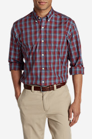 Red Shirts for Men: Men's Wrinkle-Free Pinpoint Oxford Relaxed Fit Long-Sleeve Shirt - Seasonal Pattern