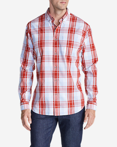 Orange Dress Shirts for Men: Men's Legend Wash Long-Sleeve Poplin Shirt - Pattern