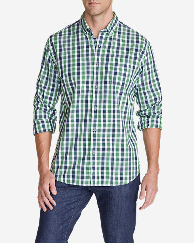 Green Shirts for Men: Men's Legend Wash Long-Sleeve Poplin Shirt - Pattern