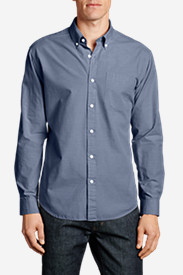 Blue Shirts for Men: Men's Legend Wash Long-Sleeve Poplin Shirt - Solid