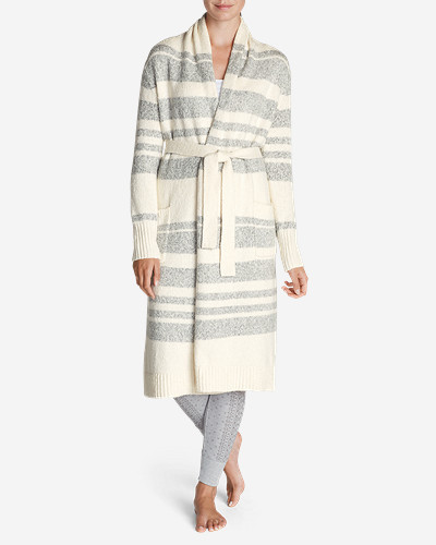 Cotton Cardigans for Women: Women's Long Sleep Cardigan - Stripe
