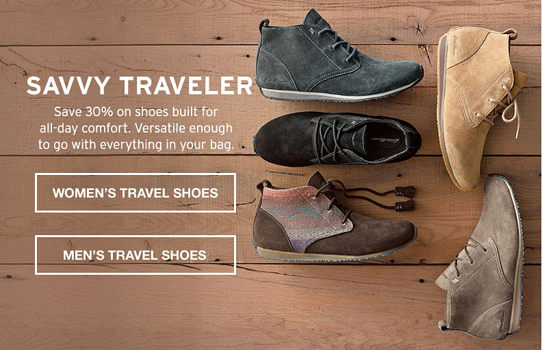 Savvy Travler. Save 30% on shoes built for all-day comfort.