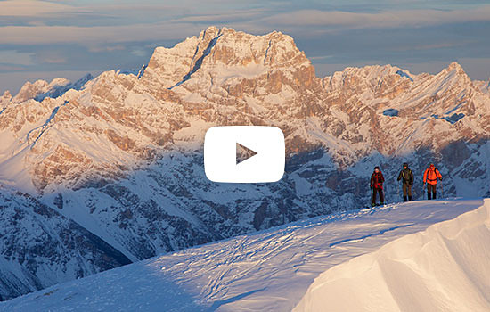 A group of Eddie Bauer guides and athletes ski touring in the Dolomites, Italy