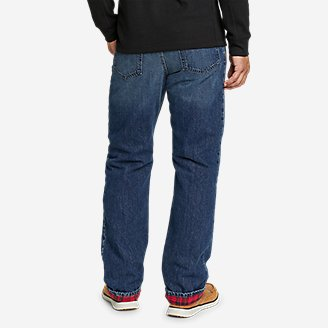 Thumbnail View 2 - Men's Flannel-Lined Flex Jeans - Straight Fit