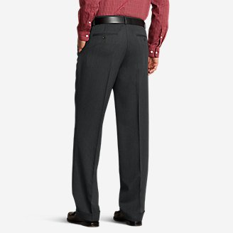 Thumbnail View 2 - Men's Relaxed Fit Pleated Comfort Waist Wool Gabardine Trousers
