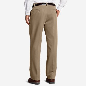 Thumbnail View 2 - Men's Wrinkle-Free Relaxed Fit Comfort Waist Flat Front Casual Performance Chino Pants
