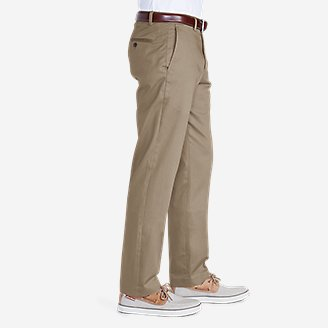Thumbnail View 2 - Men's Wrinkle-Free Slim Fit Flat-Front Performance Dress Khaki Pants