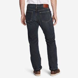 Thumbnail View 2 - Men's Fleece-Lined Jeans - Straight Fit