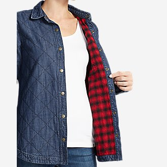 Thumbnail View 3 - Women's Quilted Indigo Shirt Jacket