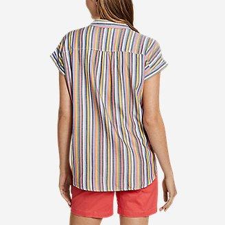 Thumbnail View 2 - Women's Tranquil Short-Sleeve Shirred Shirt - Pattern