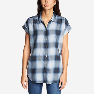 Thumbnail View 3 - Women's Tranquil Short-Sleeve Shirred Shirt - Pattern