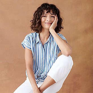 Thumbnail View 3 - Women's Tranquil Short-Sleeve Shirred Shirt - Pattern