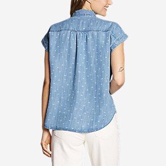 Thumbnail View 2 - Women's Tranquil Short-Sleeve Shirred Shirt - Indigo