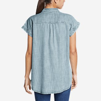 Thumbnail View 2 - Women's Tranquil Short-Sleeve Shirred Shirt - Indigo