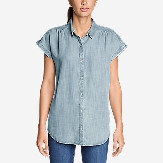 Thumbnail View 3 - Women's Tranquil Short-Sleeve Shirred Shirt - Indigo