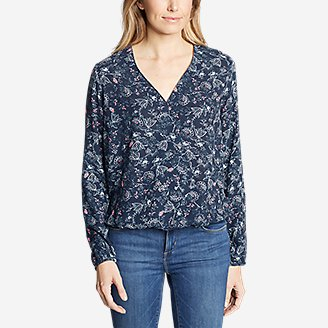 Thumbnail View 3 - Women's Thistle Long-Sleeve Wrap Top - Print