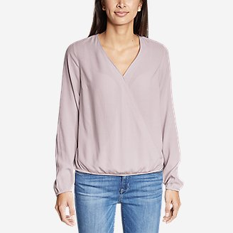 Thumbnail View 3 - Women's Thistle Long-Sleeve Wrap Top - Solid