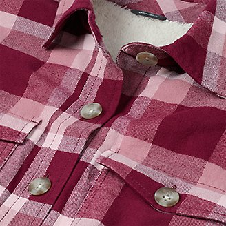 Thumbnail View 3 - Women's Eddie's Favorite Flannel Faux Shearling-Lined Shirt Jacket