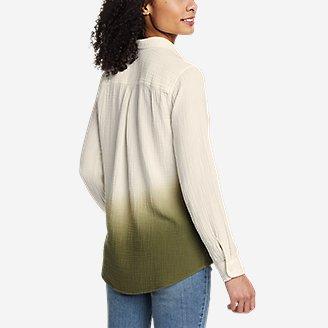 Thumbnail View 2 - Women's Carry-On Long-Sleeve Button-Down Shirt - Dip Dye