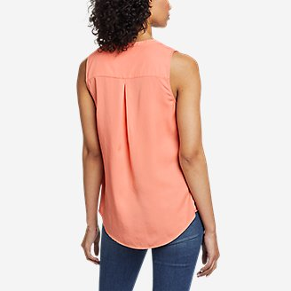 Thumbnail View 2 - Women's Magnolia Y-Neck Button-Down Tank Top - Solid