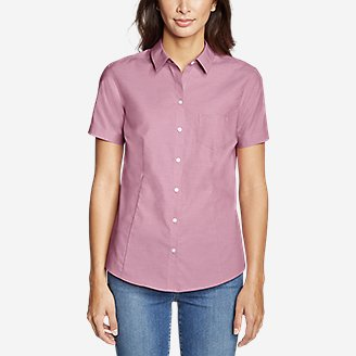 Thumbnail View 3 - Women's Wrinkle-Free Short-Sleeve Shirt - Solid