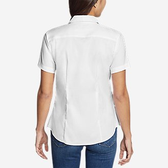 Thumbnail View 2 - Women's Wrinkle-Free Short-Sleeve Shirt - Solid