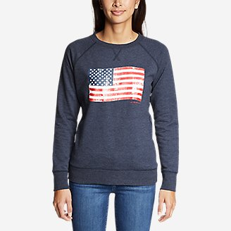 Thumbnail View 3 - Women's Camp Fleece Pullover Crew - USA