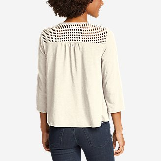 Thumbnail View 2 - Women's Lola 3/4-Sleeve Eyelet Button-Down Shirt