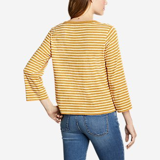 Thumbnail View 2 - Women's Favorite 3/4-Sleeve Crop Crew - Stripe