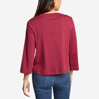 Thumbnail View 2 - Women's Favorite 3/4-Sleeve Easy Crew - Solid