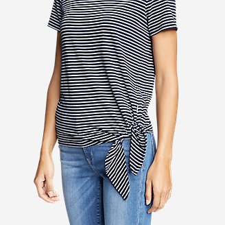 Thumbnail View 3 - Women's Gate Check Short-Sleeve Side-Tie T-Shirt - Stripe